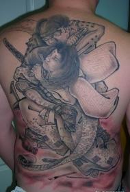 背部令人兴奋的日本士纹身图案
