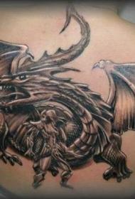 背部龙和猎人纹身图案