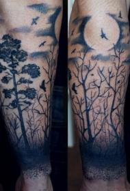 手臂黑色的月亮和森林纹身图案
