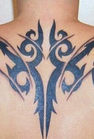 背部纹黑色部落符号个性纹身图案