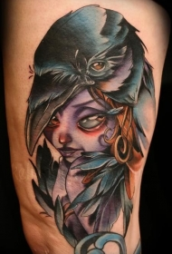 手臂美丽的卡通神秘女巫彩色纹身图案