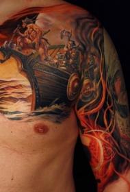 半甲美丽多彩的海盗船纹身图案