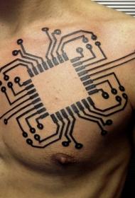 胸部的电脑电路黑色纹身图案