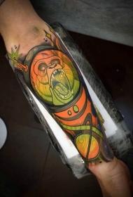 卡通彩色的猴子宇航员手臂纹身图案