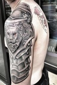 大臂灰色的中世纪肩狮子盔甲纹身图案