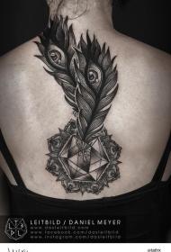 背部黑白神秘的孔雀羽毛与钻石纹身图案