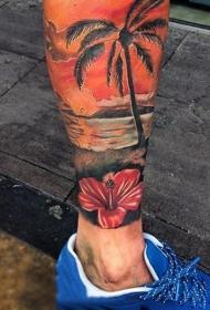 小腿彩绘海滩日落与棕榈树和花朵纹身图案