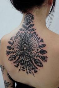 背部巴洛克风格黑色各种花卉纹身图案