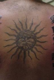 背部太阳图腾与字符纹身图案