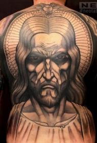 背部彩色愤怒的耶稣肖像纹身图案