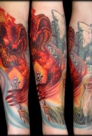 小臂卡通彩绘魔戒主题纹身图案