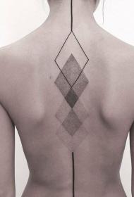 背部华丽神秘的黑色点刺几何图形纹身图案