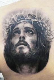 背部灰色的耶稣和荆棘王冠纹身图案