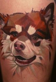 大腿卡通彩色狗头像纹身图案