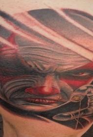 大腿可怕的彩绘小丑纹身图案