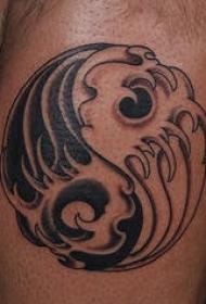 黑白经典阴阳八卦标志纹身图案