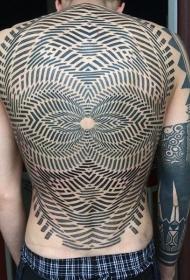 满背令人难以置信的黑白催眠装饰纹身图案