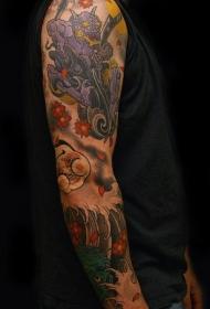多彩亚洲主题恶魔彩绘花臂纹身图案