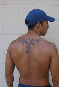 背部简约黑色线条凤凰纹身图案
