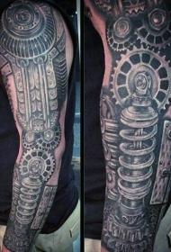 非常壮观逼真机械手臂纹身图案
