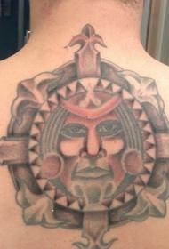 背部框架人脸图腾纹身图案