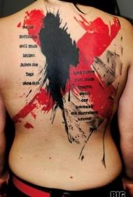 背部红色和黑色泼墨十字形和字母纹身图案