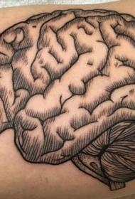 大臂雕刻风格黑色线条人大脑纹身图案