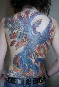 背部神奇的火凤凰彩色纹身图案