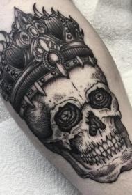 小腿雕刻风格黑色骷髅与皇冠纹身图案