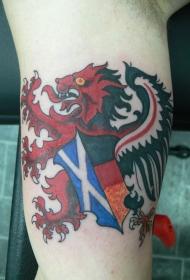 手臂苏格兰狮子旗帜彩绘纹身图案