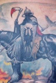 背部马和勇士火焰纹身图案