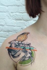 肩部现实主义风格彩色猫脸与小鸟纹身图案