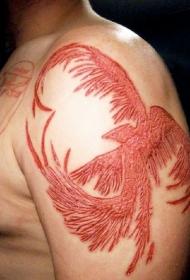 大臂美丽的凤凰皮肤割肉纹身图案