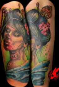 小臂精确绘制的彩色僵尸亚洲艺妓肖像纹身图案