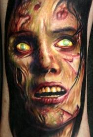 非常逼真的彩色怪物肖像手臂纹身图案