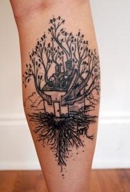 小腿黑色的树和房子纹身图案