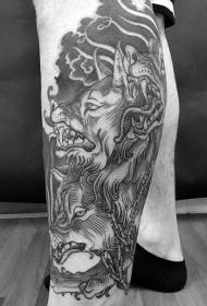 小腿雕刻风格黑色地狱犬纹身图案