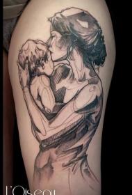 大腿素描风格黑白母亲和婴儿纹身图案