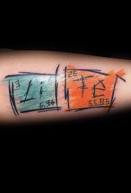 小臂彩色的亚洲化学表纹身图案