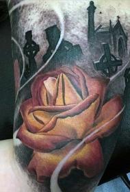 手臂逼真彩色玫瑰和黑暗墓地纹身图案