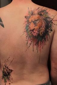 背部水彩狮子头像纹身图案
