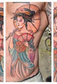 侧肋漂亮的彩色艺妓与伞纹身图案