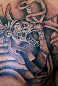 胸部黑灰风邪恶埃及神与符号纹身图案