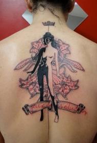 背部超现实主义风格彩色花朵和女人纹身图案