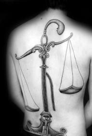 背部幻想风格黑色简单的天秤座纹身图案