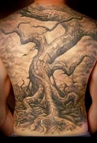 背部伟大的写实枯树纹身图案