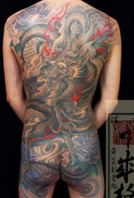 满背亚洲主题的龙黑灰纹身图案