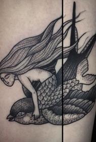 old school黑色点刺美人鱼与飞鸟纹身图案