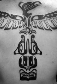 背部部落风格黑色的标志纹身图案