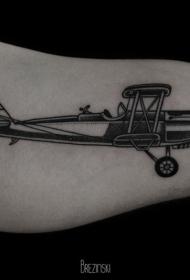 大臂黑色的老式飞机纹身图案